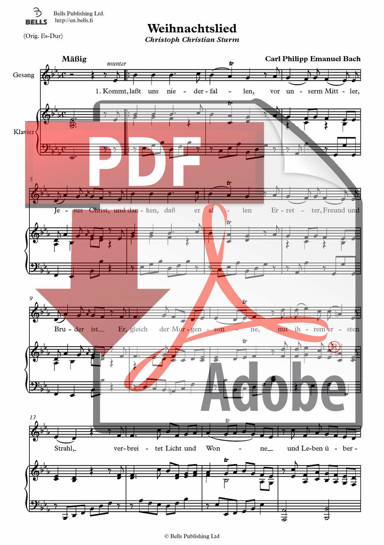 Carl Philipp Emanuel Bach : Weihnachtslied (pdf) (Lied) | Bells Webshop